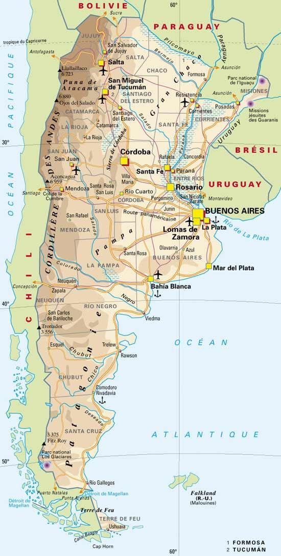 carte de l argentine Argentine : Carte géographique