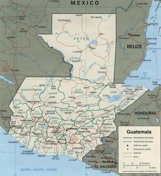Guatemala: Carte géographique